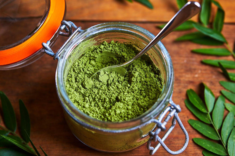 moringa powder in open jar